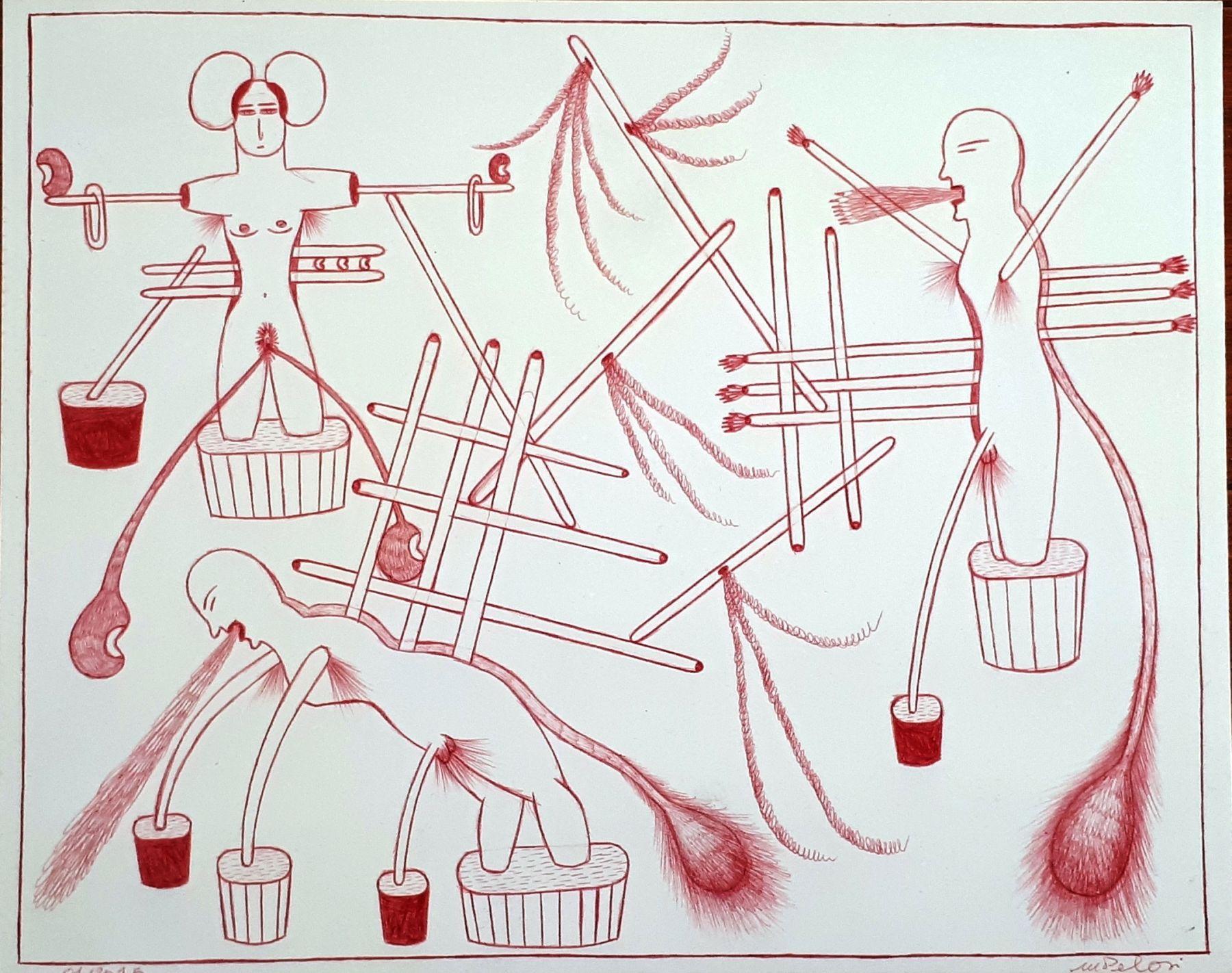 Marilena Pelosi(1957) Brazil, Untitled, 2015, Ballpoint pen on paper, 9.5 x 12 in