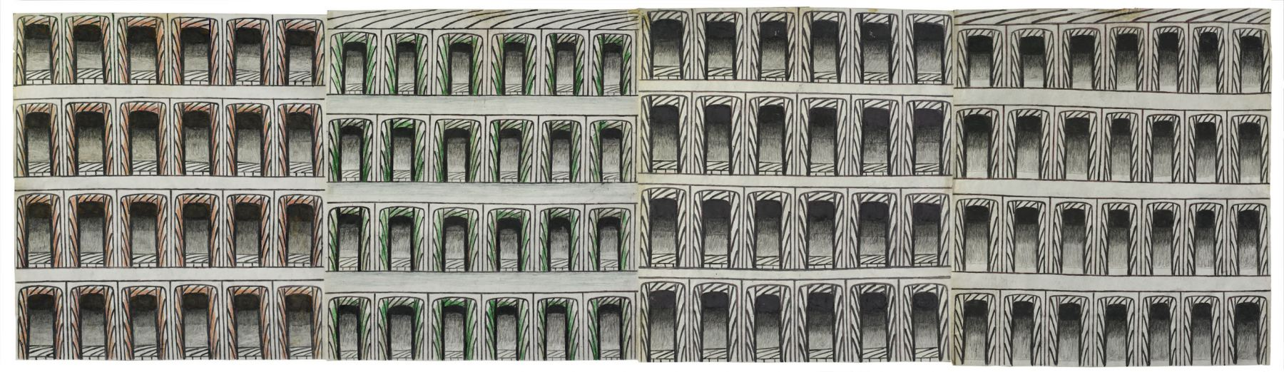 Martín Ramírez(1895-1963) Mexico/USA, Untitled (Arches), c. 1960-63, Gouache, colored pencil, and graphite on pieced paper, 20x 90in