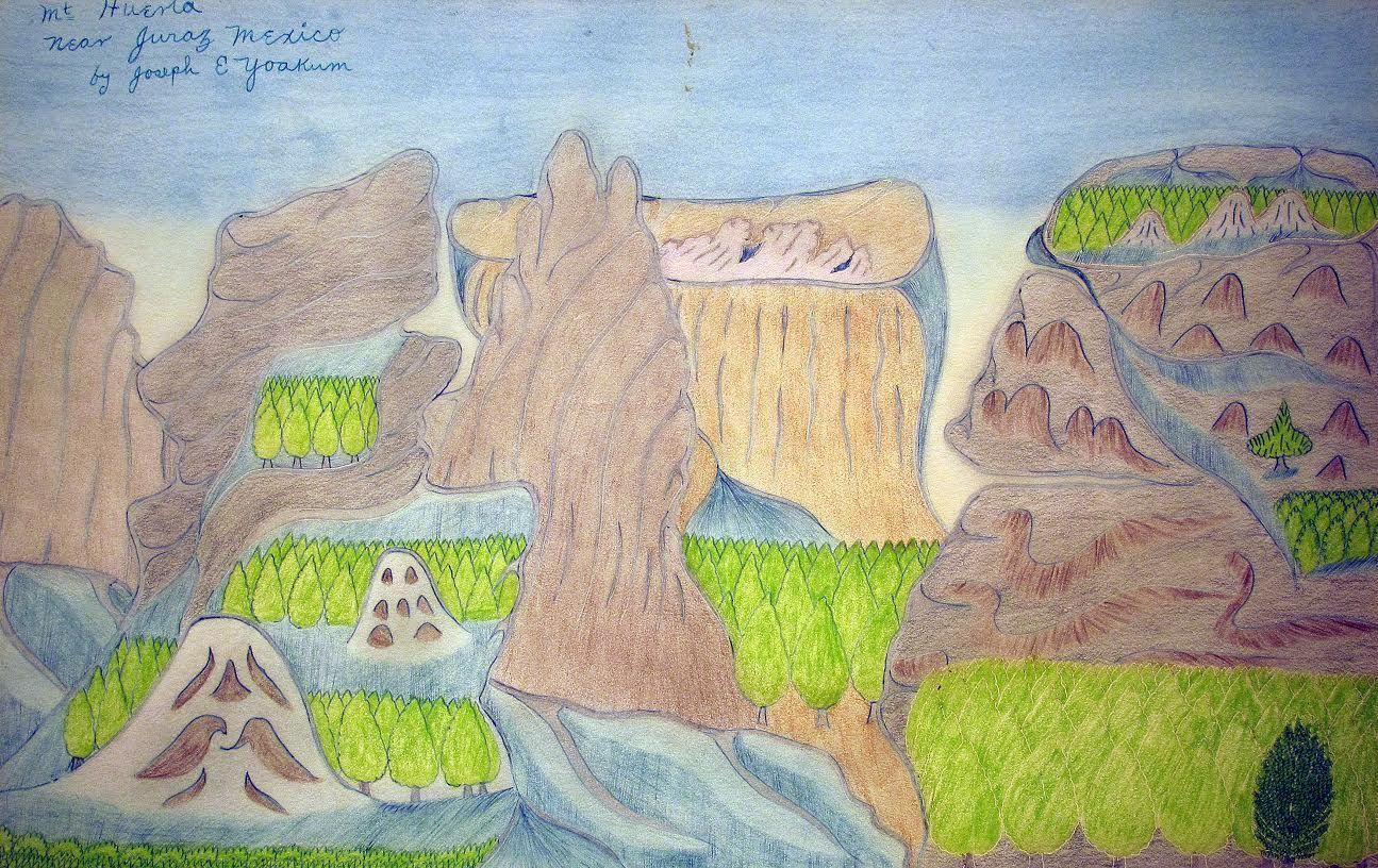 Joseph Yoakum(1890-1972) USA, Mt. Huerta near Juraz Mexico, c. 1970, Pen and colored pencil on paper, 12 x 19 in