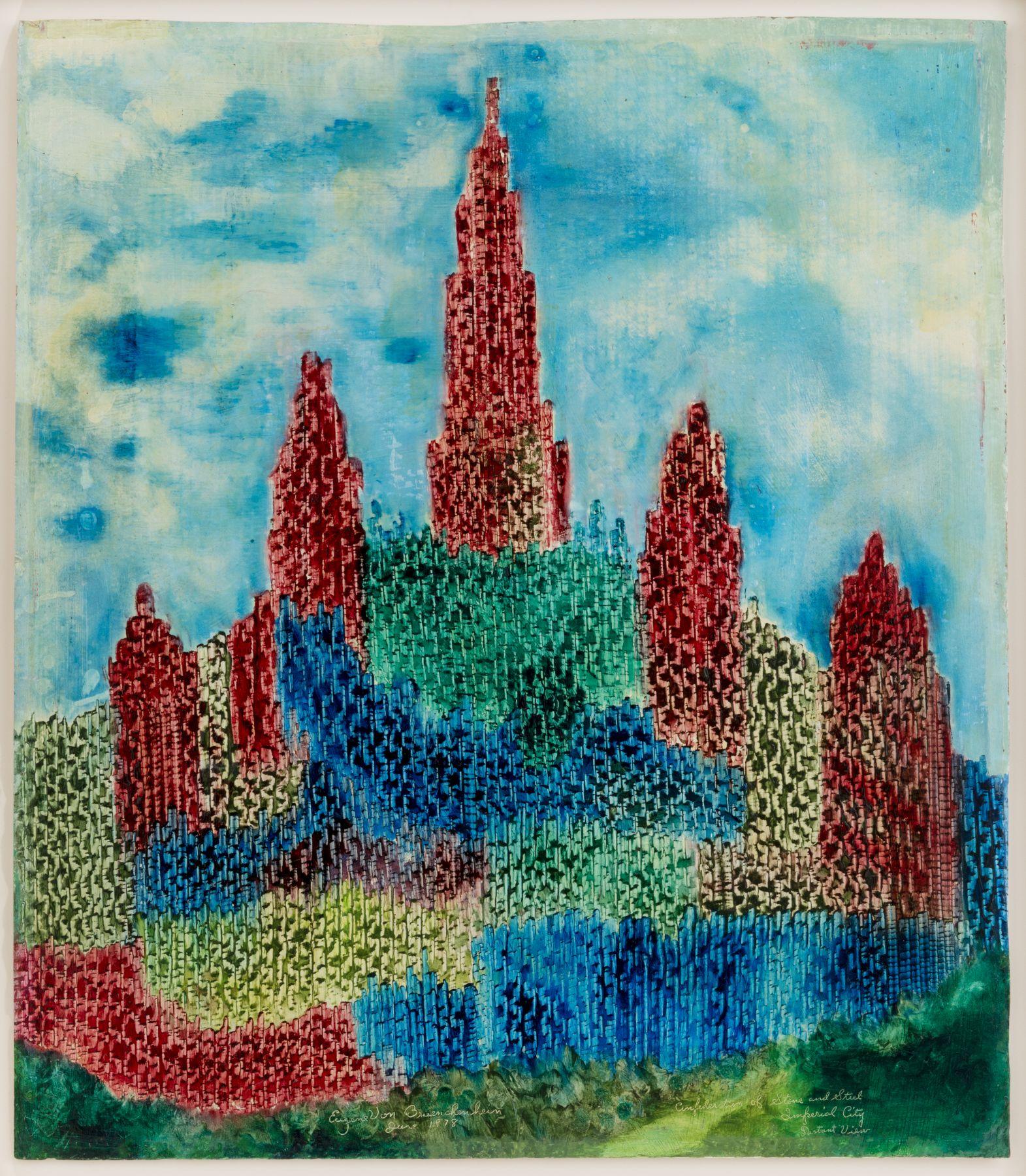 Eugene von Bruenchenhein(1910-1983) USA, Steel-Imperial City, June 1978, 1978, Oil on cardboard, 33.75 x 29.5 in