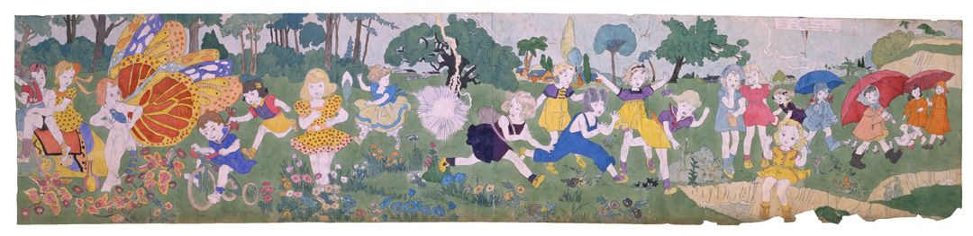 Henry Darger(1892-1973) USA, Untitled (At Jennie Richee Going out of Shelter as Storm Abates), n.d., Watercolor, pencil on paper, 24 x 106 in