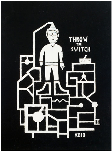 Ken Grimes(1947) USA, Throw the Switch, 2010, Acrylic on Masonite, 48 x 36 in
