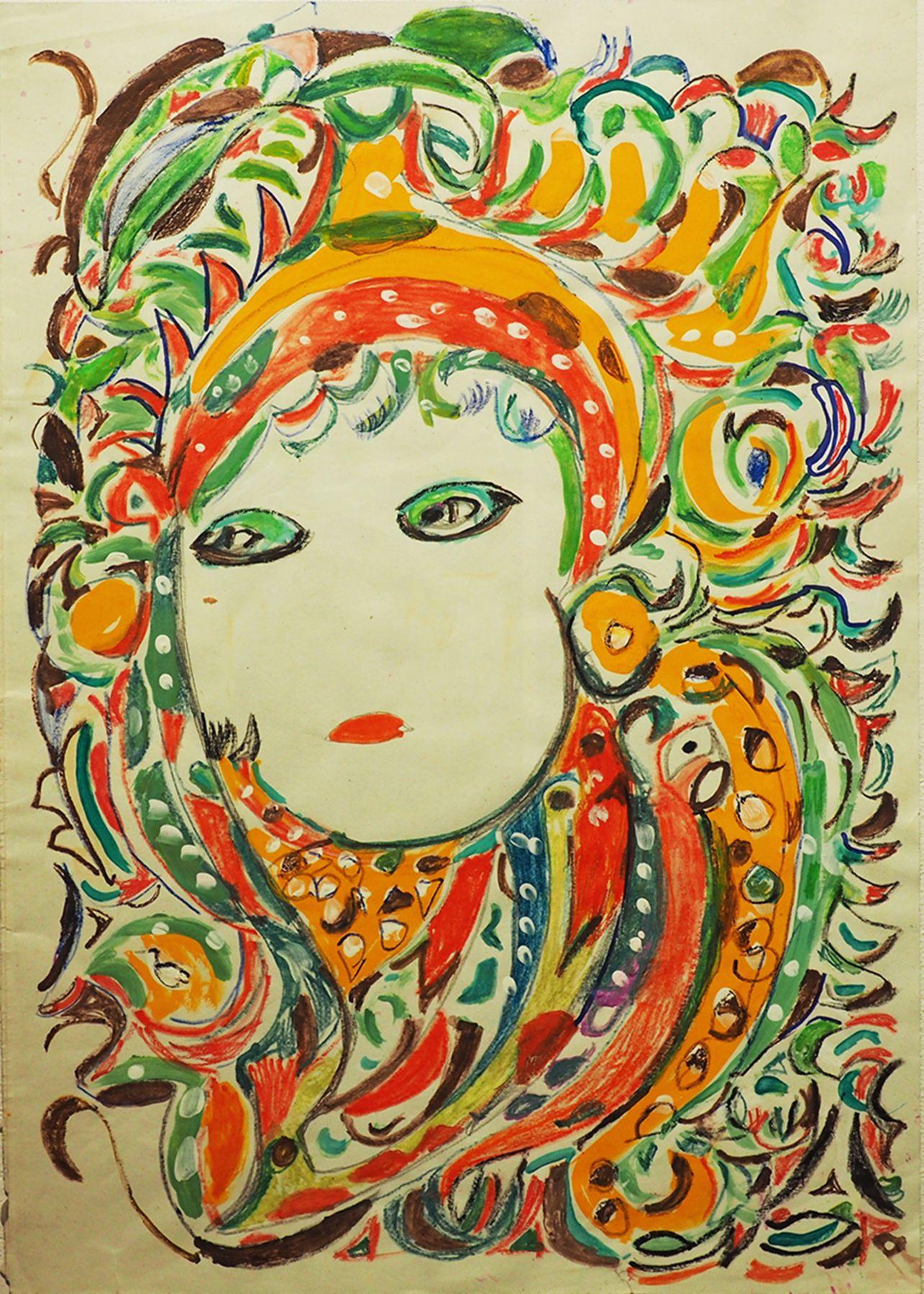 Martha Grunenwaldt(1910-2008) Belgium, Untitled, n.d., Mixed media on paper, 16.5 x 12 in