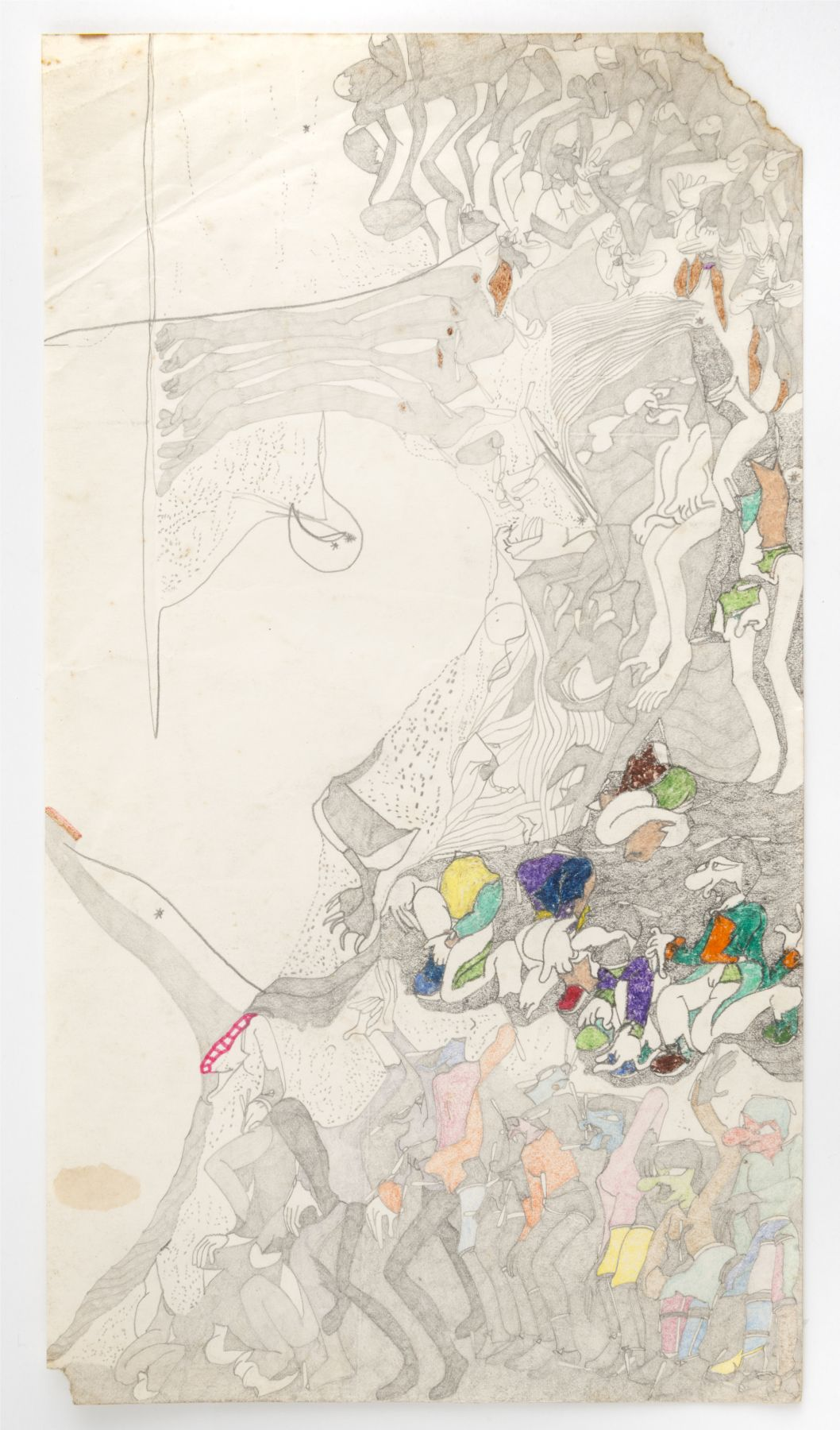 Susan Te Kahurangi King(1951) New Zealand, Untitled, c. 1975-1980, Graphite, colored pencil and crayon on paper, 16.5 x 9 in