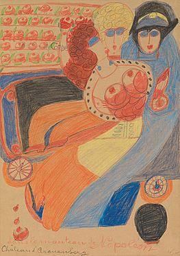 Aloïse Corbaz(1886-1964) Switzerland, Dans le manteau de Napoléon (In Napoleon's Coat), 1955, Crayon on paper, 23 x 16.5 in