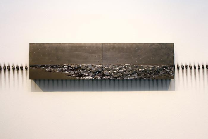 TERESITA FERNÁNDEZ Nocturnal (Twin), 2010 solid graphite on wooden panel 2 panels, each: 8 x 16 x 2 inches 20.3 x 40.6 x 5.08 cm overall: 8 x 32 x 2.5 inches 20.3 x 81.3 x 5.08 cm Signed, titled and dated on the reverse LM13330