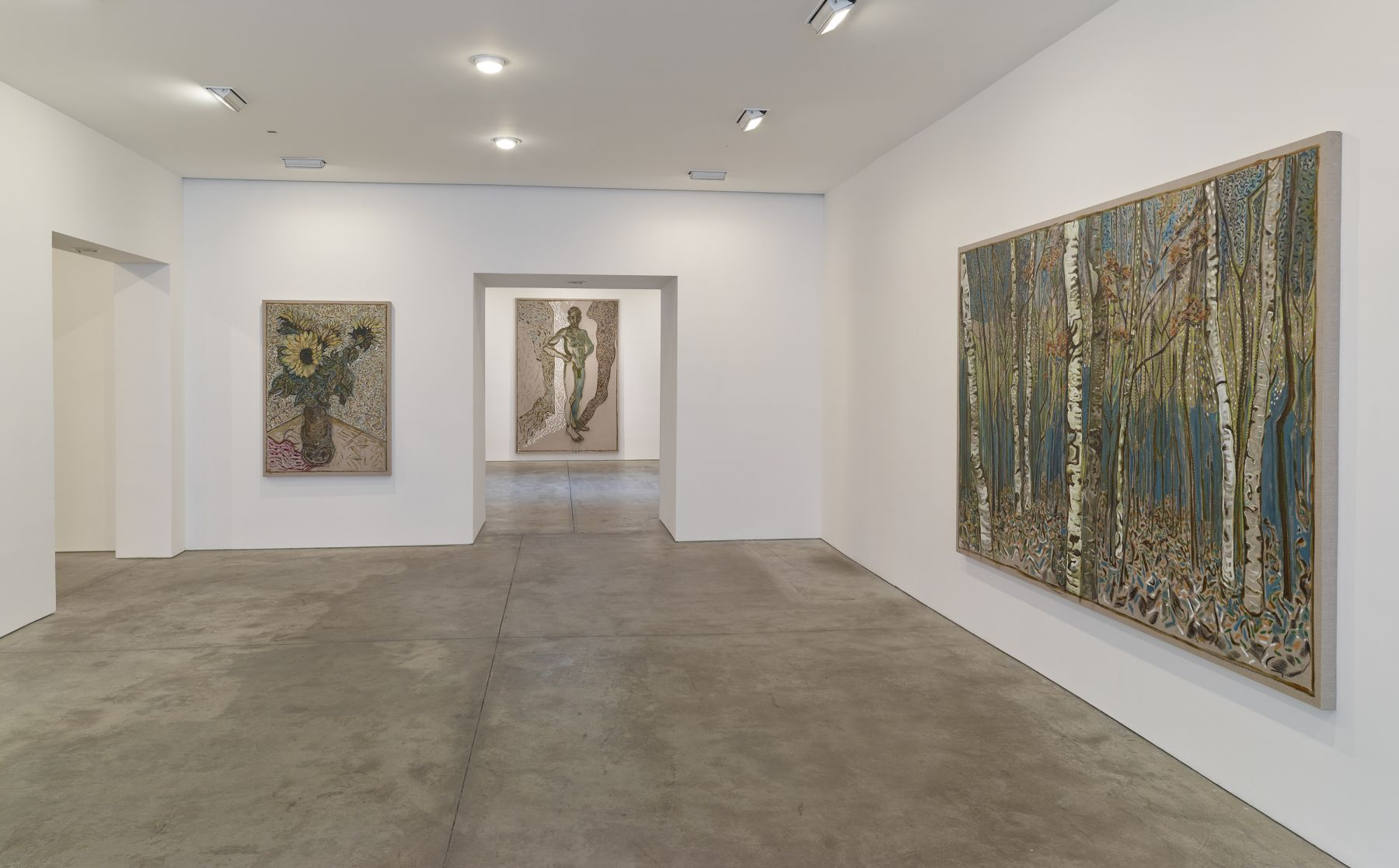 比利·æŸ¥çˆ¾è¿ªæ–¯: flowers, nudes and birch trees: New Paintings 2015