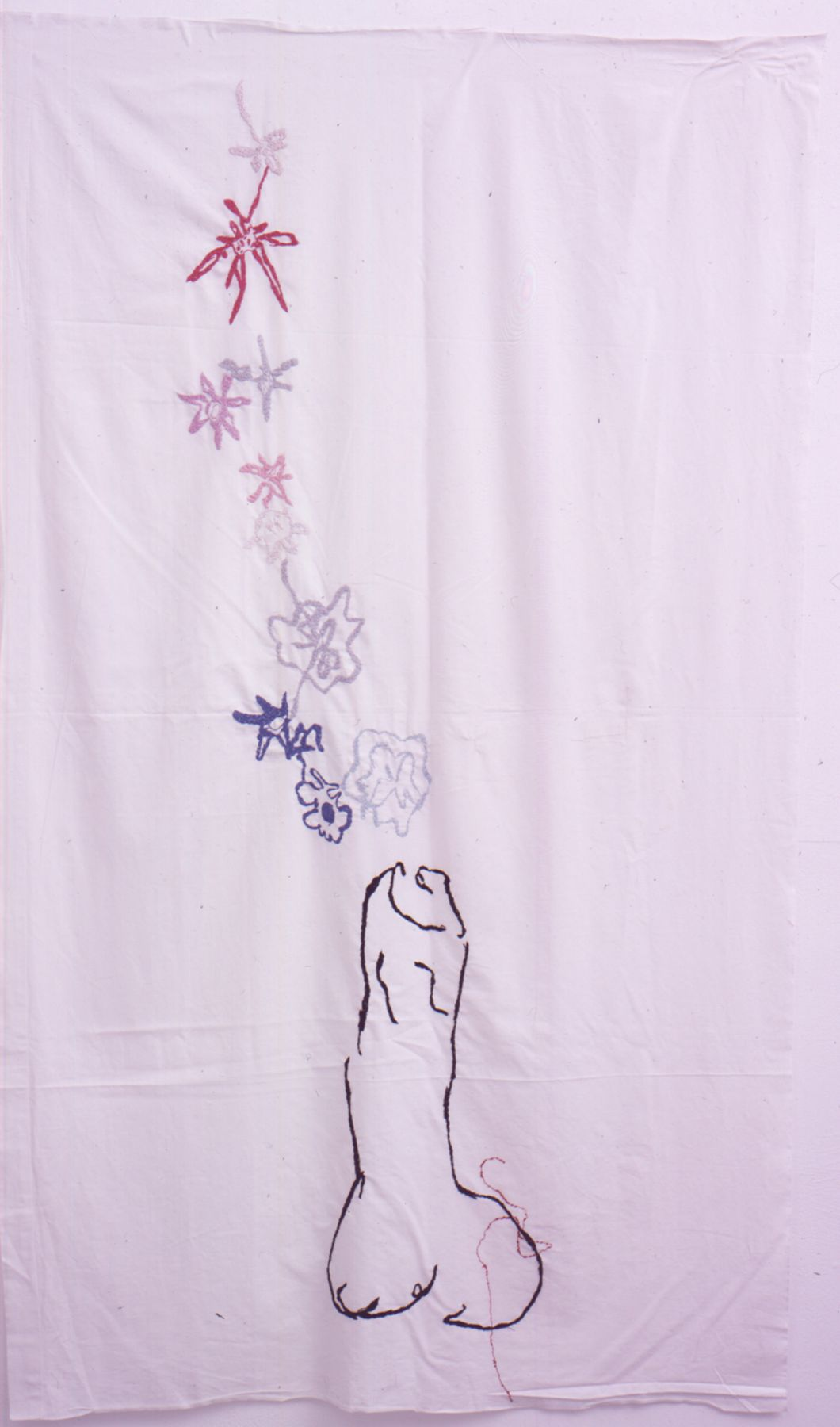 TRACEY EMIN, Beautiful Penis, 2002Eembroidery on white bed sheet