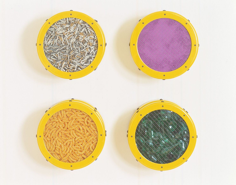 ASHLEY BICKERTON, Small Yellow Catalog: Cigarettes, Purple Pigment, Cheese Doodles, Broken Glass, 1991