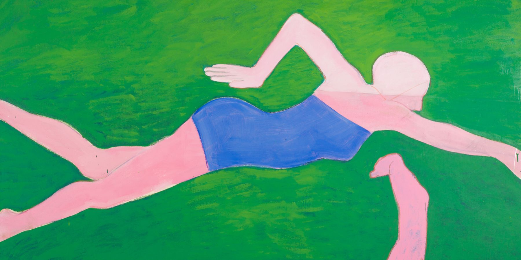 Detail of a painting by Joan Brown titled The Swimmers #2 (The Crawl) from 1973