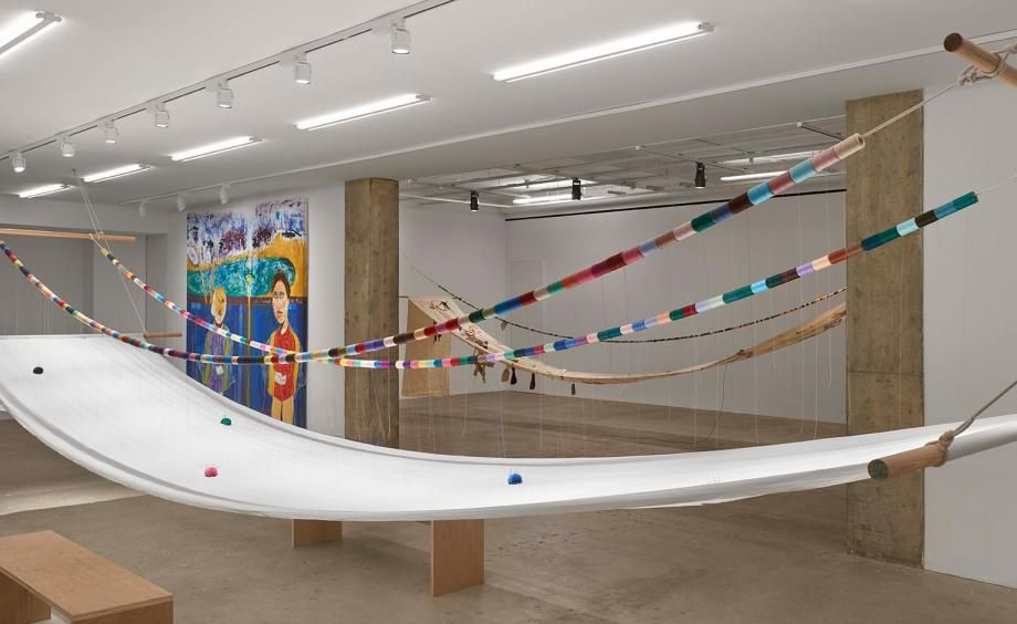 Medalla, a Manila-born artist, world-traveller and pioneer of kinetic art, conceived ofA Stitch in Timein the 1960s when he gave handkerchiefs to two ex-lovers in Heathrow airport, with instructions to embroider whatever they pleased. Pictured: installation view