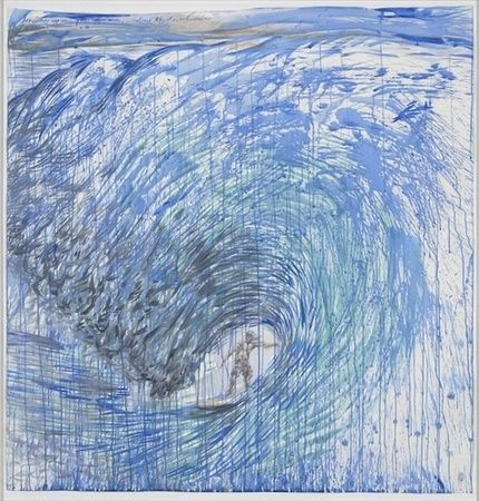 "Raymond Pettibon, No Title (Sometimes approaching the), 2001, ink and watercolor on paper, 52 1/4 x 53 1/2""."