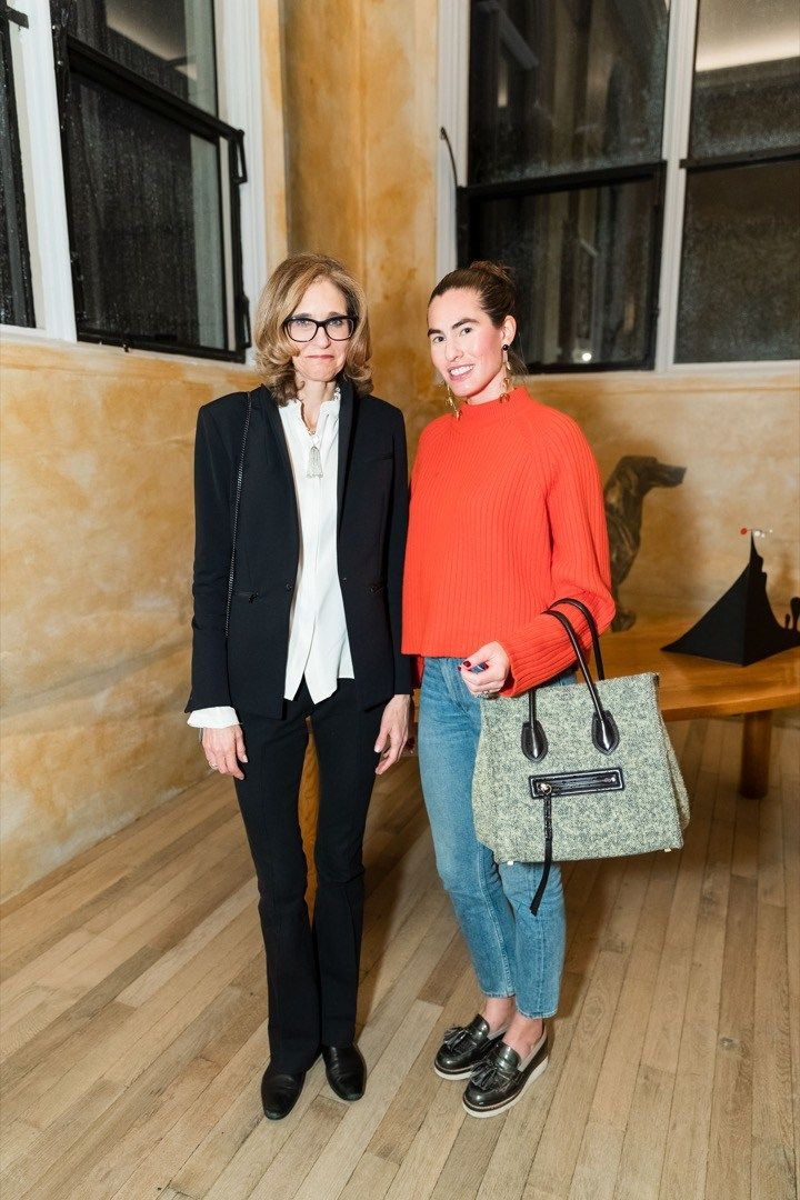 Sotheby's exec Jennifer Biederbeck with interior designer Emilie Spalding (who was surely eyeing the midcentury furniture).