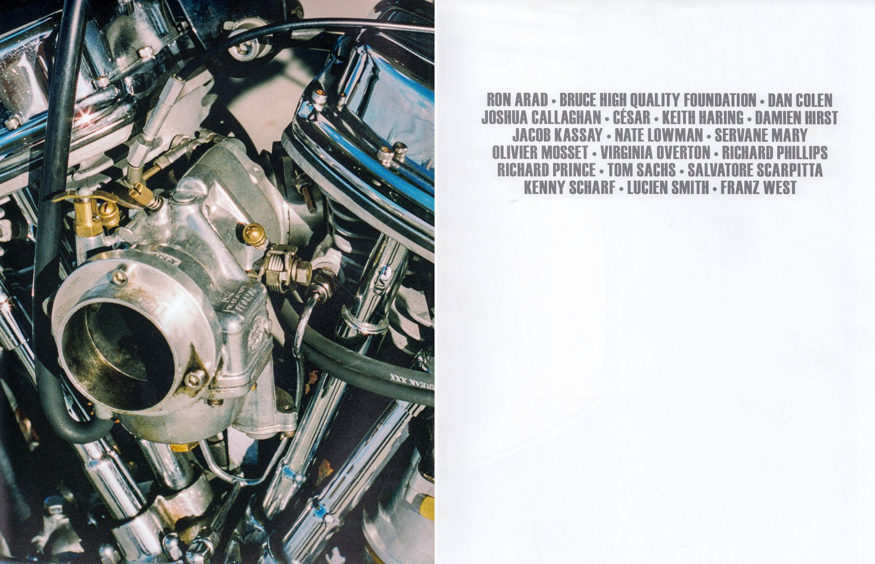 Interior view of Piston Head: Artists Engage the Automobile, published by Venus Over Manhattan, New York, 2013
