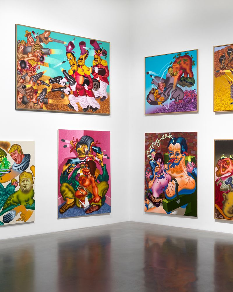 Exhibition of paintings by Peter Saul at the New Museum