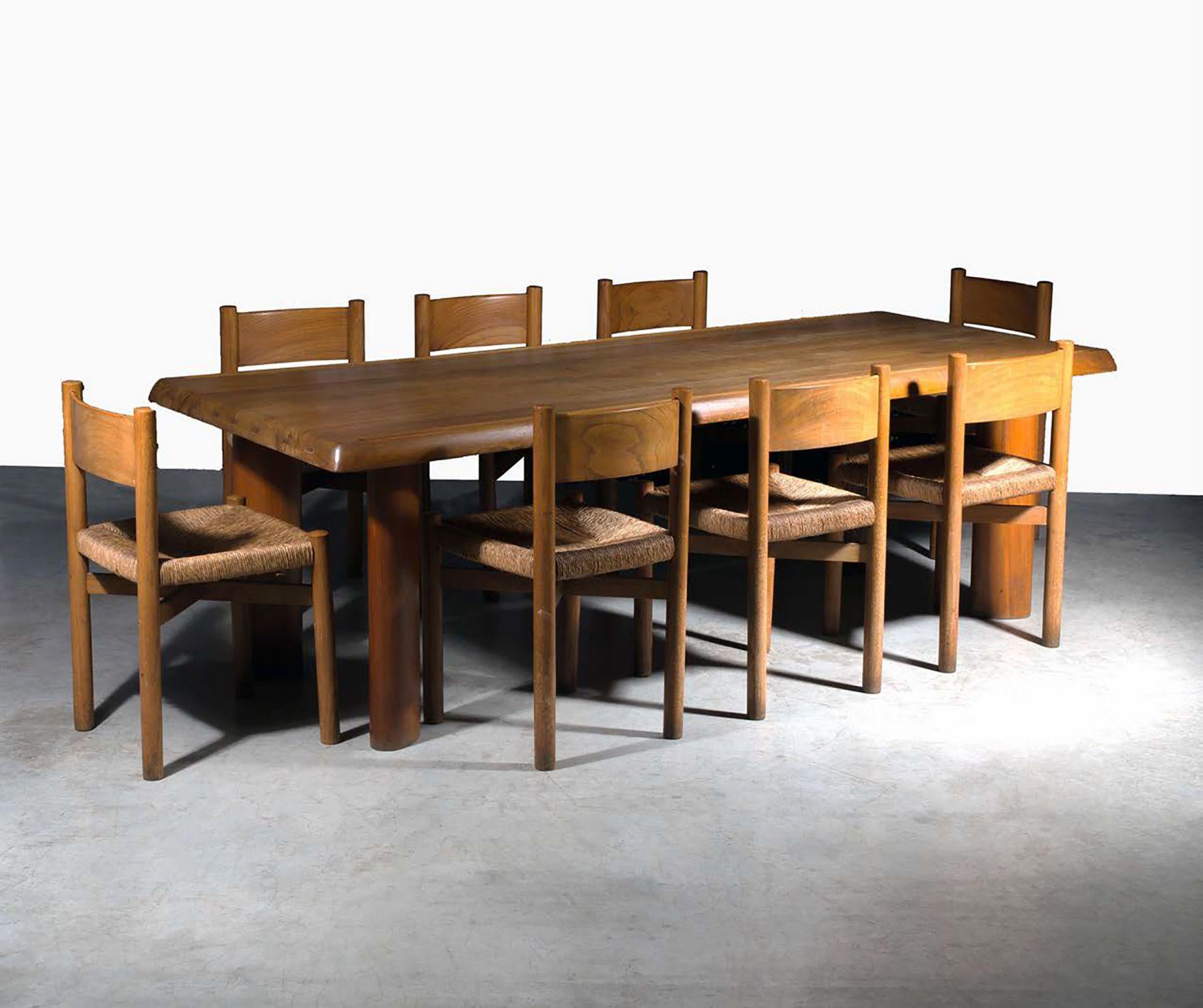"""Charlotte Perriand Table à gorge et huit chaises dites """"Méribel"""" designed 1956, produced c. 1957"""