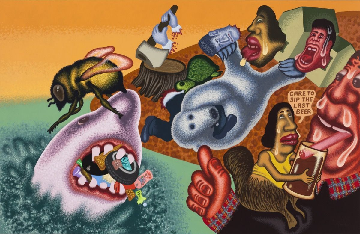"""Peter Saul, """"Global Warming, the Last Beer,"""" 2017. Copyright Peter Saul. Courtesy of Mary Boone Gallery, New York."""