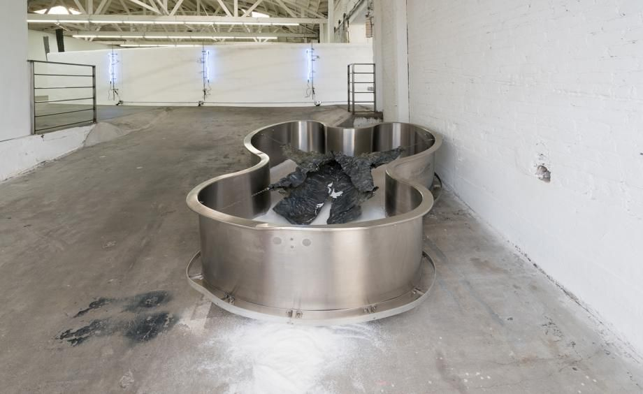 Metaphor, 2016 (pictured) comprises a stainless steel hydrotherapy tub filled with white sand; atop sits a 'lead jacket', made from sheets of solid lead and steel wire