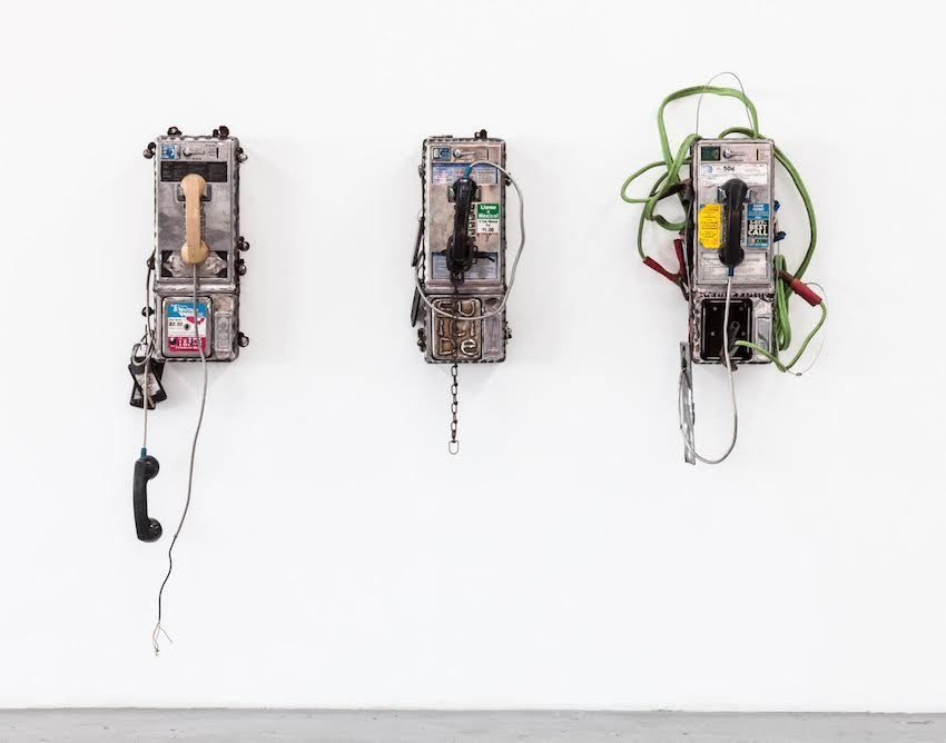 Jason Matthew Lee, bruteforcephreak series (2017). Mixed media on cut and welded pay-phones. Image courtesy of VENUS LA. Photo: Lazaros.
