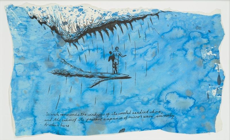 Raymond Pettibon, No Title (Here and there), Ink on paper, 1995; Courtesy of the Venus Over Manhattan Gallery