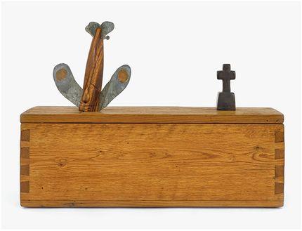 "H. C. Westermann,Untitled (Walnut Death Ship in a Chestnut Box), 1974, chestnut, walnut, zebrawood, galvanized sheet metal, copper, ebony, 17 7/8 × 24 7/8 × 8 1/2""."