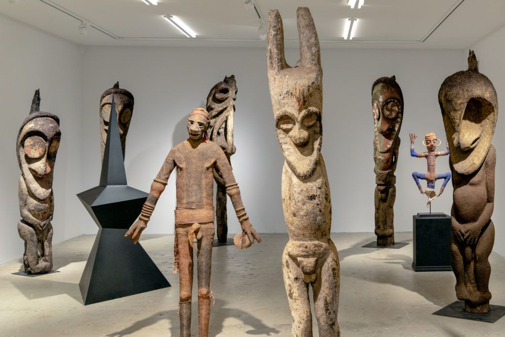 """Installation view of """"Calder Crags + Vanuatu Totems from the Collection of Wayne Heathcote"""" at Venus Over Manhattan. Photo courtesy of Venus Over Manhattan."""