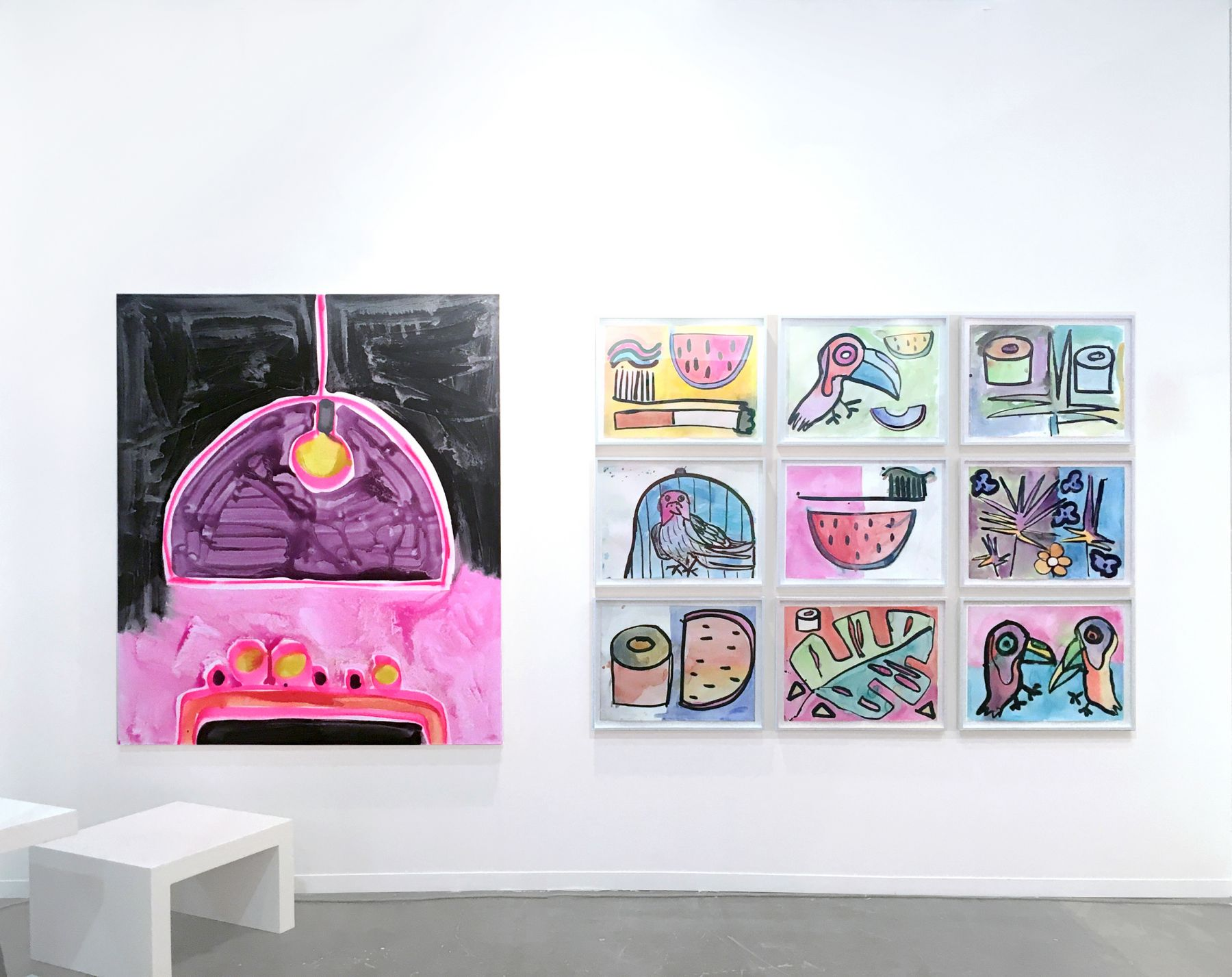 Installation view of Katherine Bernhardt and Sarah Braman, Zona Maco, Mexico City, 2016