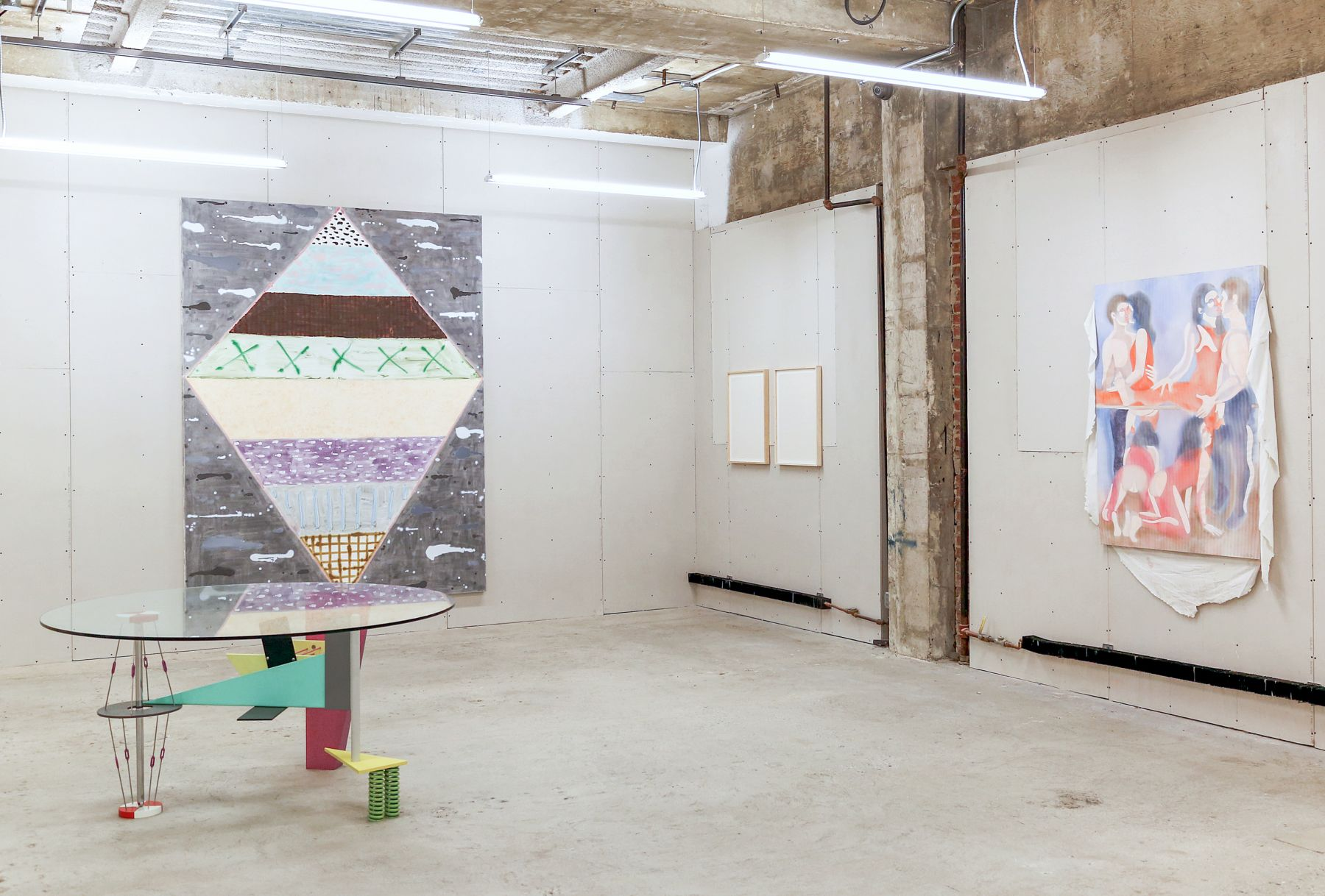 Installation view of Made in Space, curated by Peter Harkawik and Laura Owens, Venus Over Manhattan, New York, 2013
