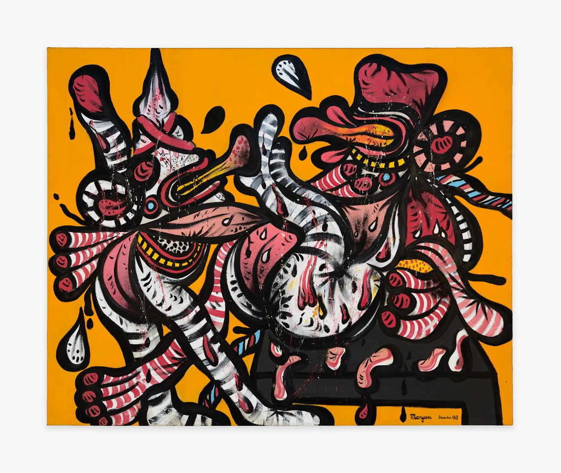 """Maryan, """"Two Personnages,"""" 1968, oil on canvas, 52 x 64 in (132.1 x 162.6 cm), Courtesy Venus Over Manhattan, New York."""