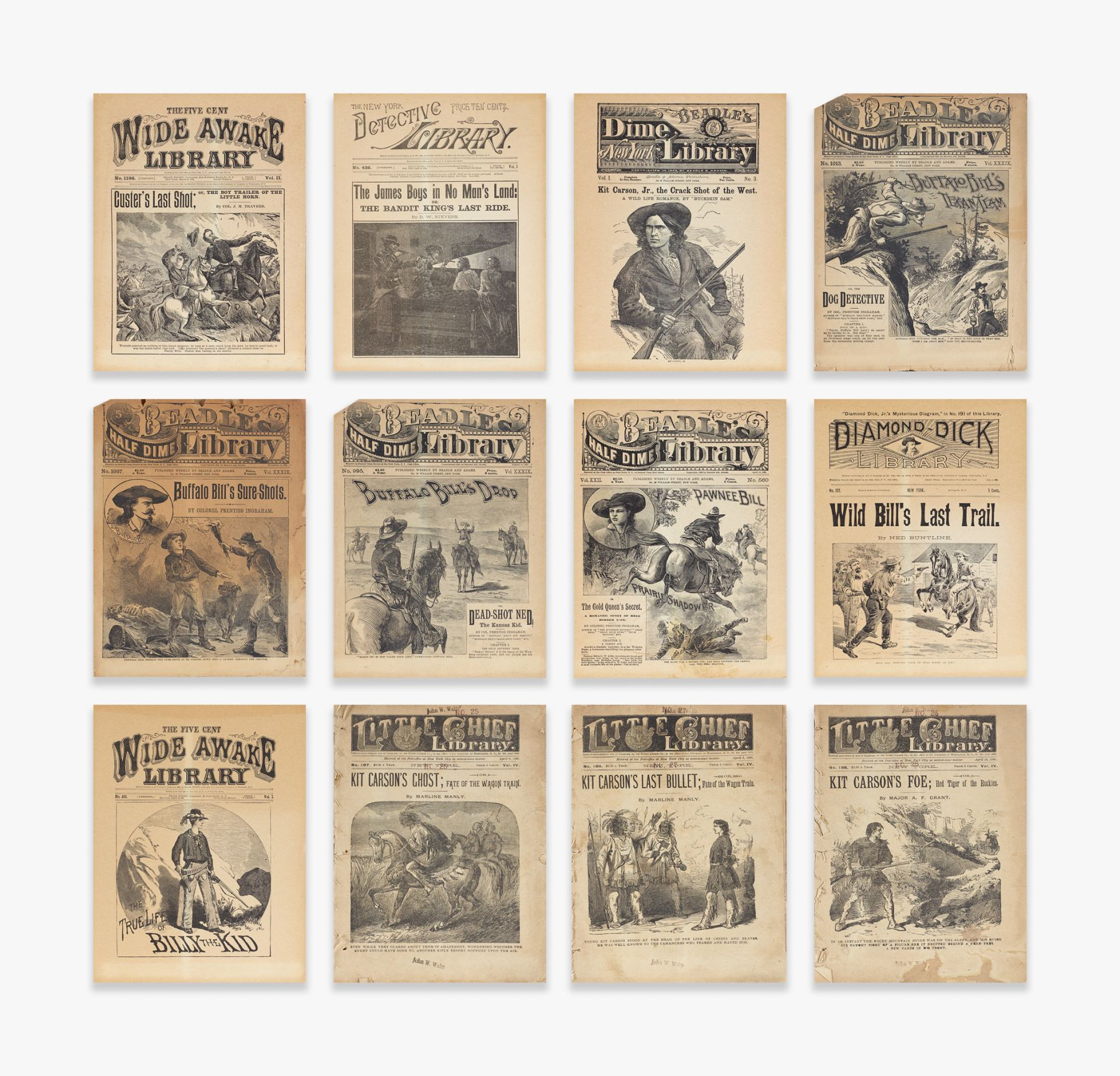 12 Items from the Dime Novels and Penny Dreadfuls Collection