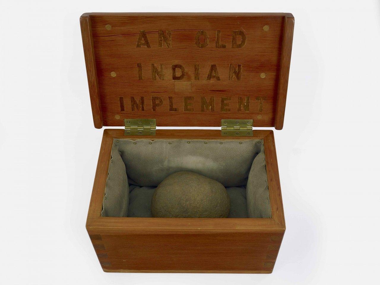 H.C. Westermann, An Old Indian Implement, 1971. Douglas fir, connecticut fieldstone, pigskin, walnut, 10 x 18 x 10 3/4 inches.