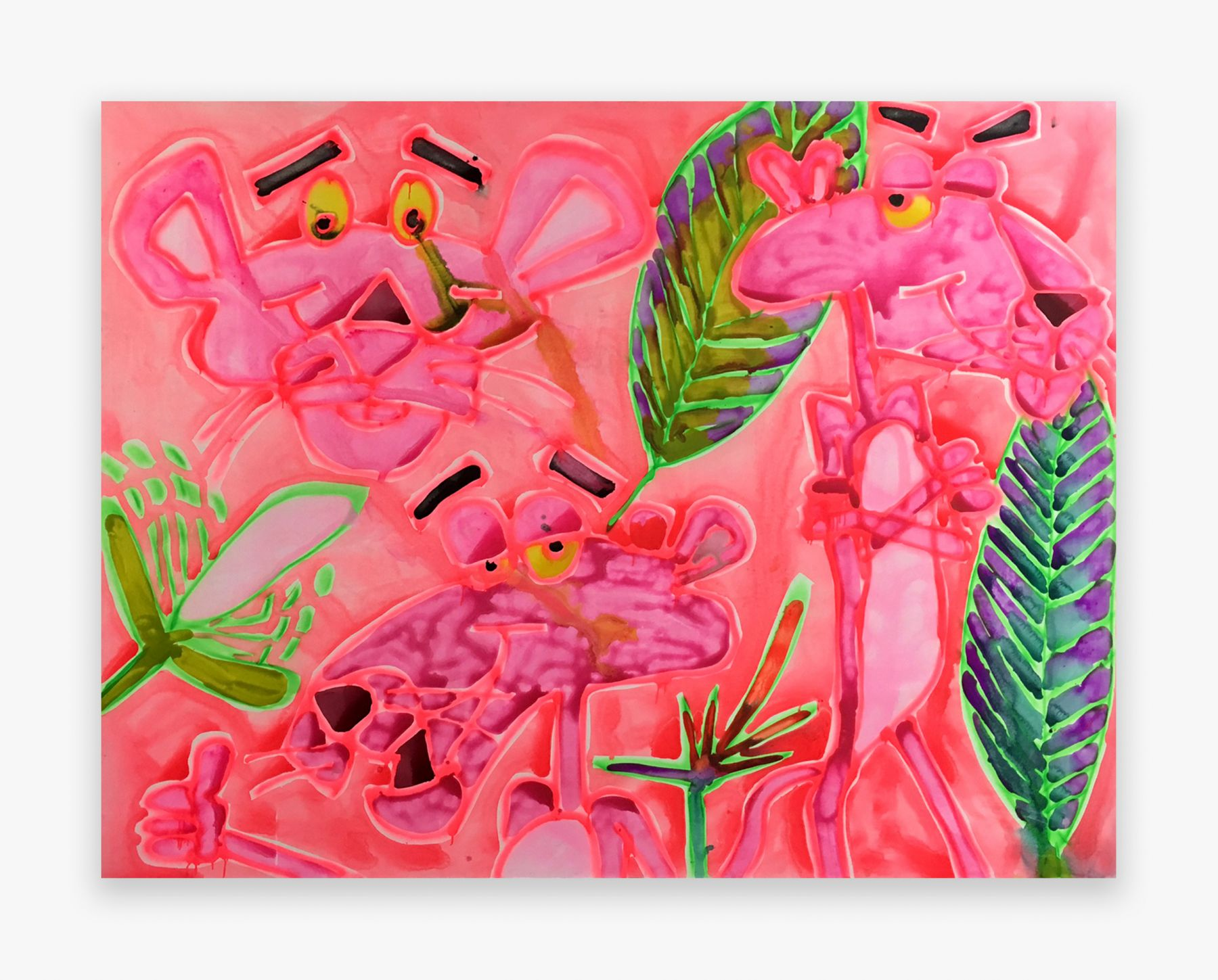 Katherine Bernhardt Three Pink Panthers, 2016