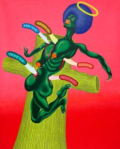 Peter Saul, Crucifixion of Angela Davis, 1973., COURTESY THE ARTIST AND VENUS OVER MANHATTAN