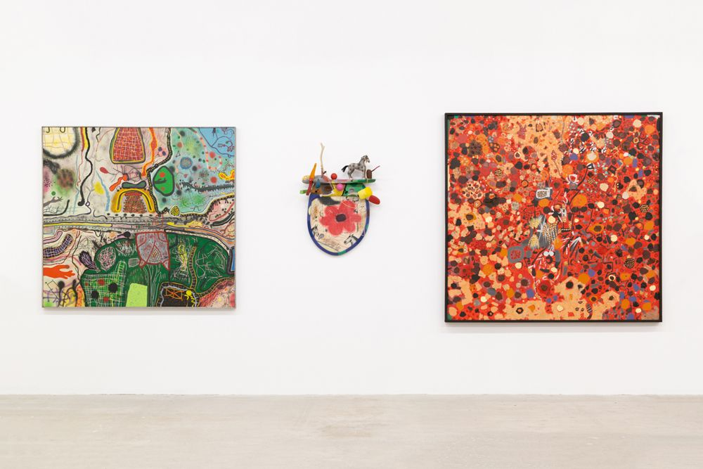 Installation view of paintings by Roy De Forest at Venus Over Manhattan