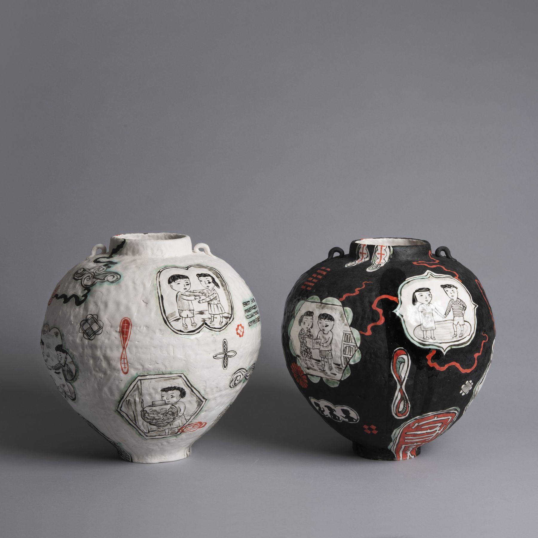 Beth Lo Black and White Vases