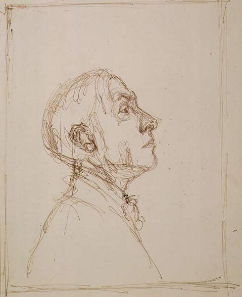 Alberto Giacometti, Portrait de Pierre Reverdy de profil droit