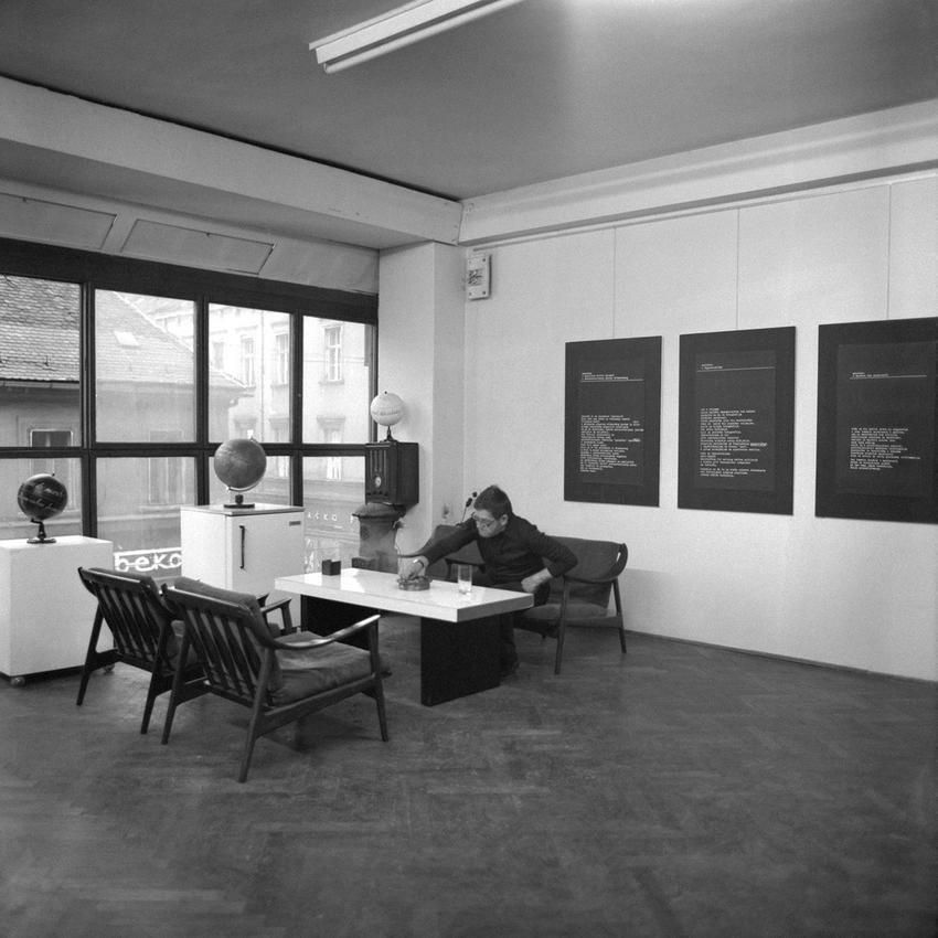 Mangelos with the exhibition Manifesti (Atelier Toso Dabac, Zagreb, Croatia, 1978)
