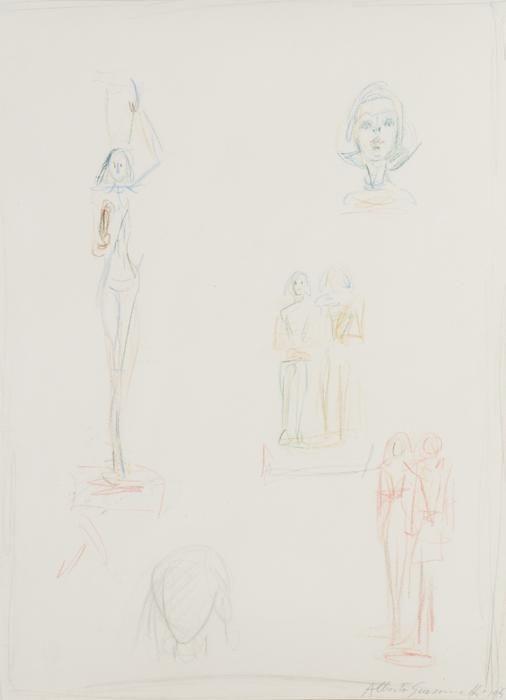 Alberto Giacometti, Une page d'esquisse pour les sculptures