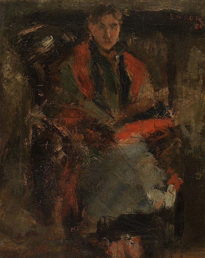 James Ensor La femme au châle rouge (Woman with a Red Shawl)