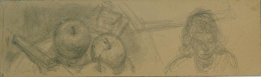 Alberto Giacometti, Assiette de pommes et buste de femme