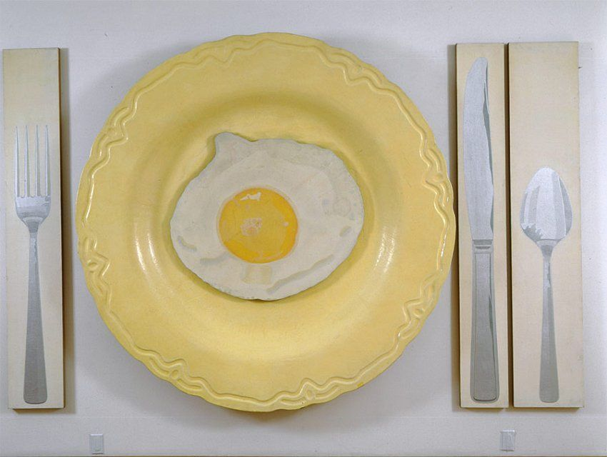 Alex Hay Egg on Plate with Knife, Fork, and Spoon