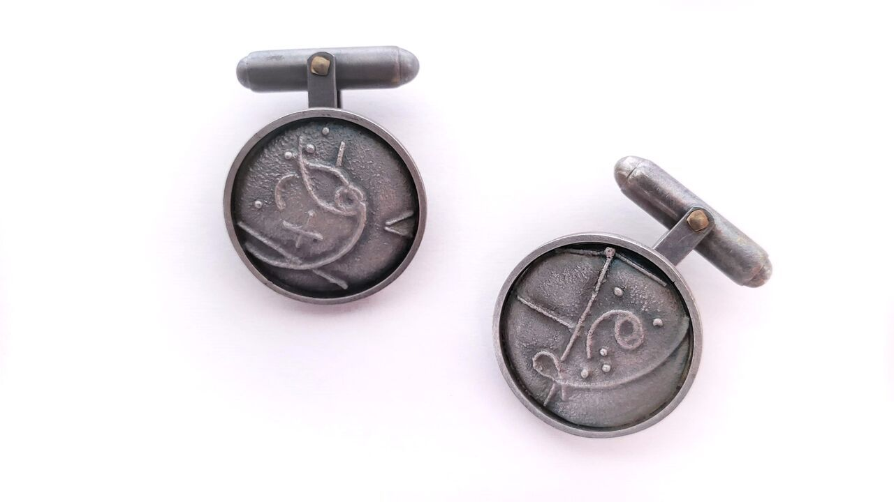 Ann Parkin, Cufflinks - Bubble Chamber Fused #2