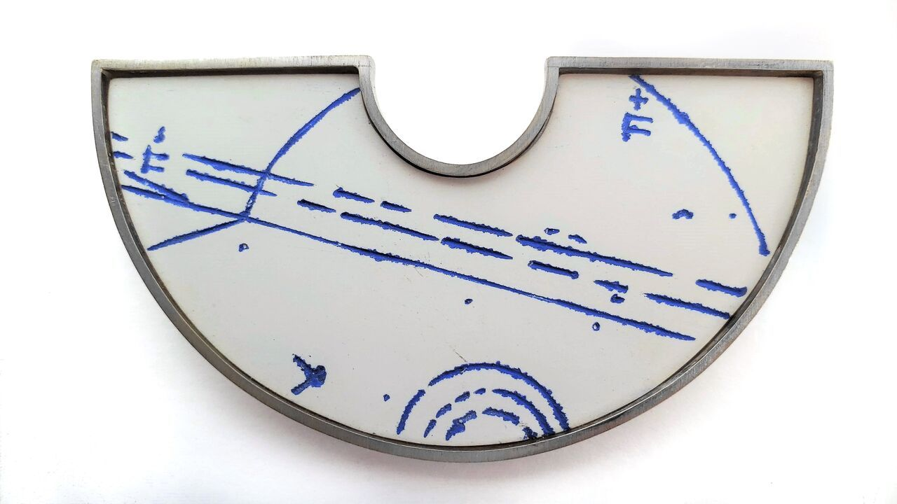 Ann Parkin, Brooch - Particle Shower, Etched Blueprint #3