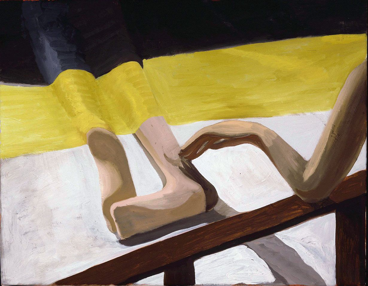 painting of two feet and an arm by jesse chapman