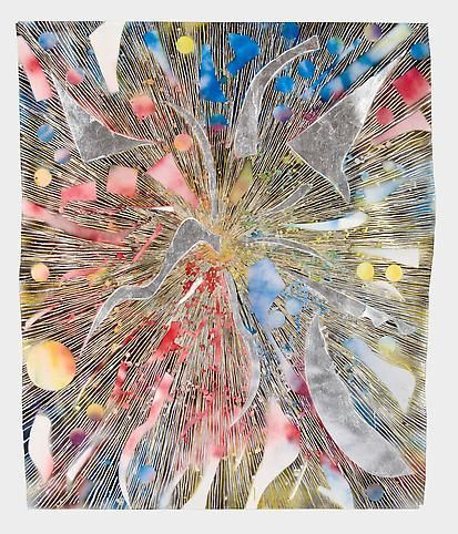 Mosaic Drawing Vision (all colors gold and silver), 2010, Acrylic, spray paint and gold leaf on paper