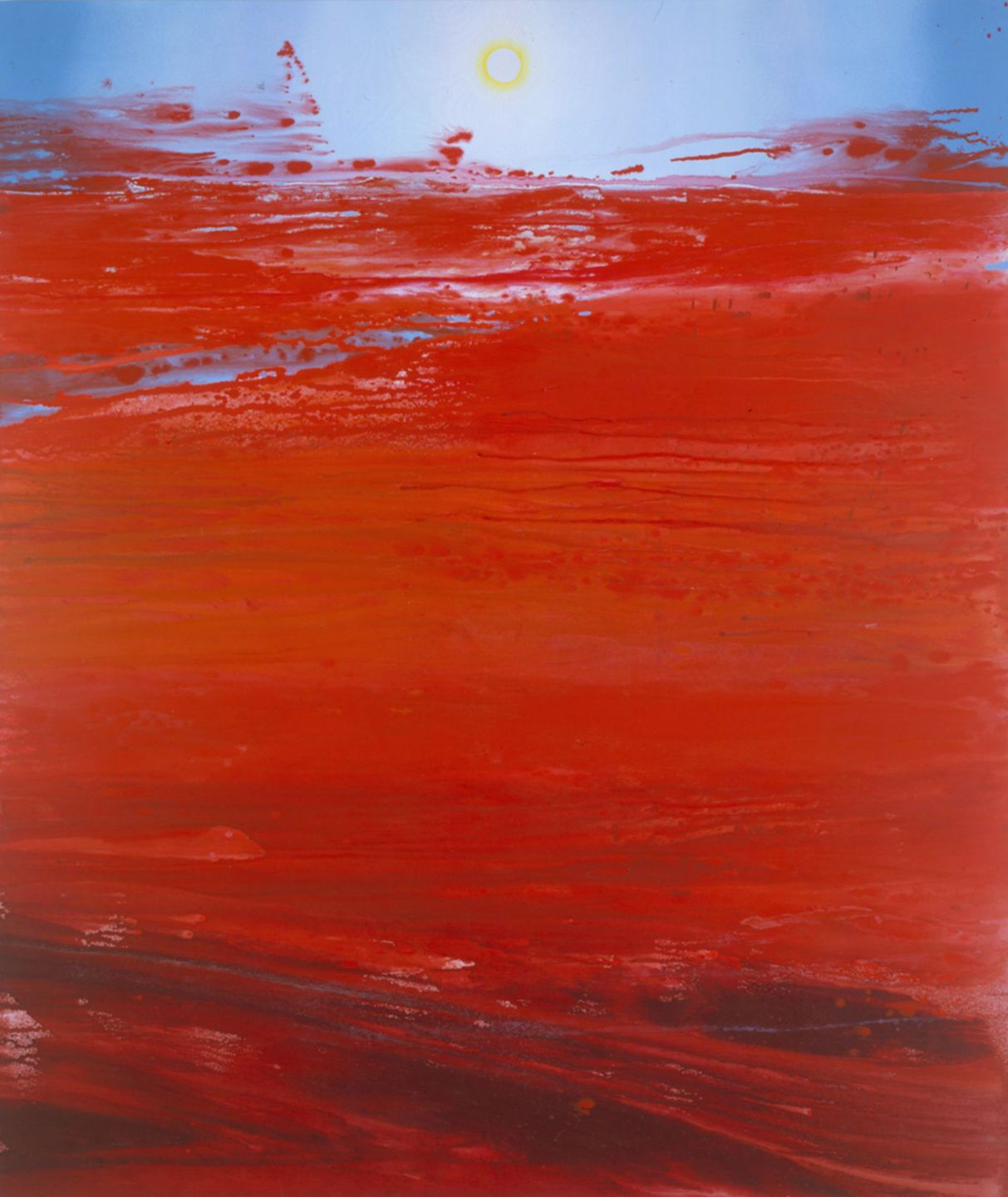 red flood painting with a visible sun by barnaby furnas