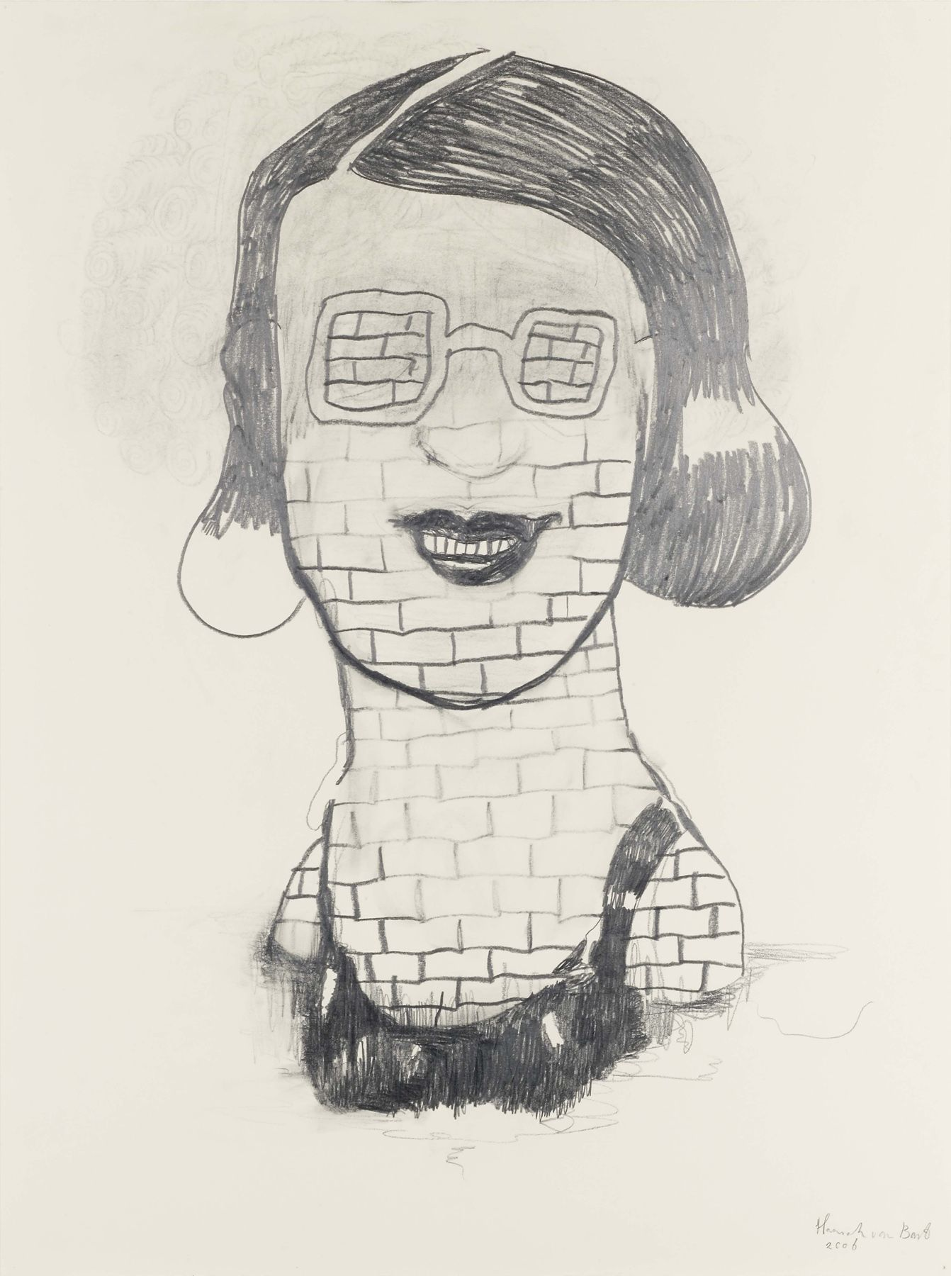 portrait of a woman made of bricks by hannah van bart