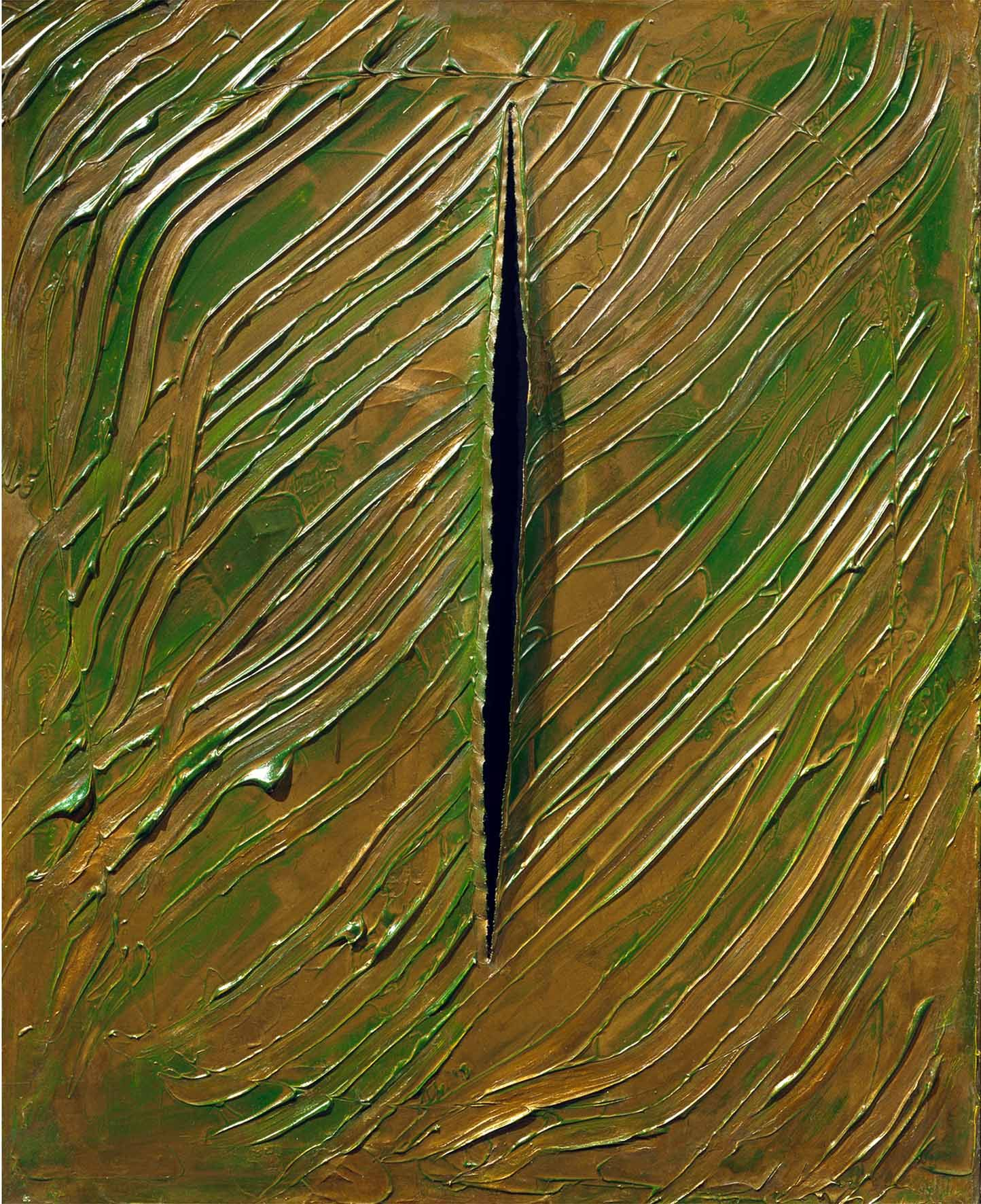 green and yellow painting by lucio fontana with slit