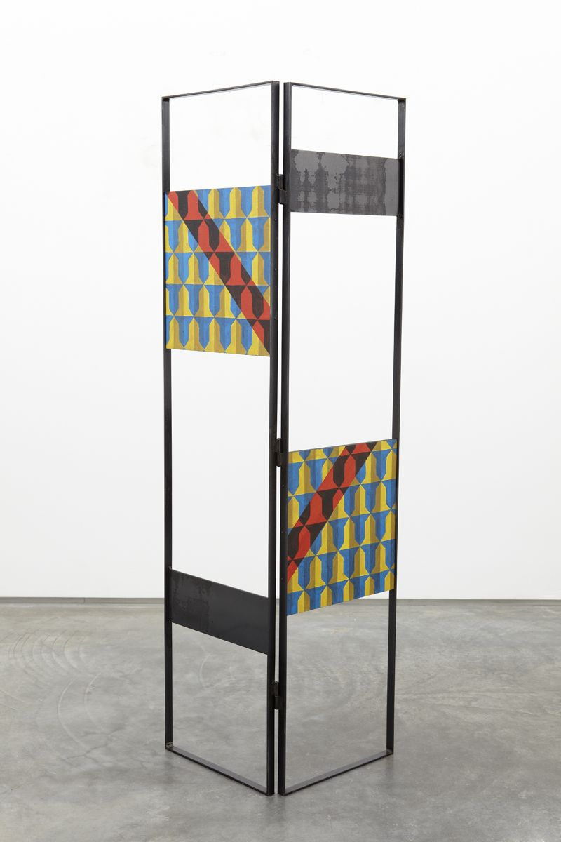 sculpture by melissa gordon with black steel frame and patterned wood panels