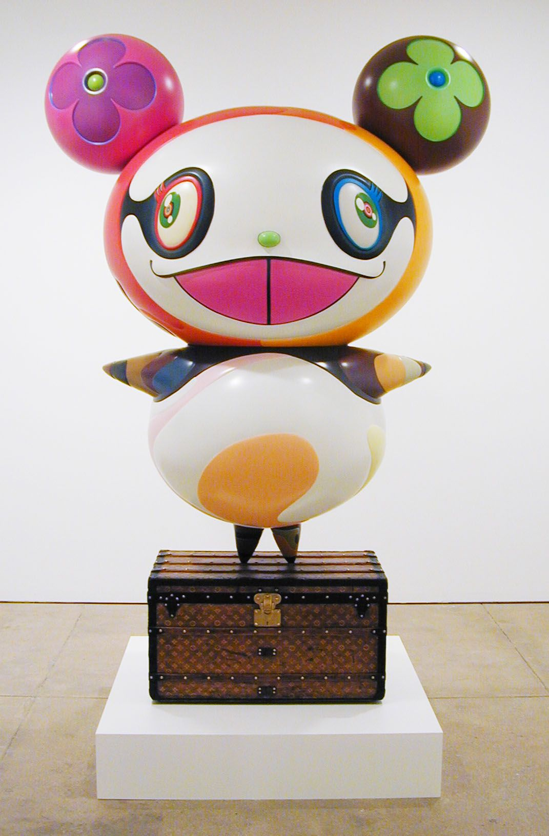 Panda, 2003, Acrylic on fiberglass with antique Louis Vuitton trunk